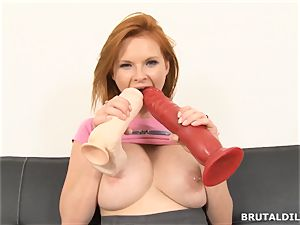 huge-boobed ginger-haired mummy Tarra milky fucking aggressive dildos