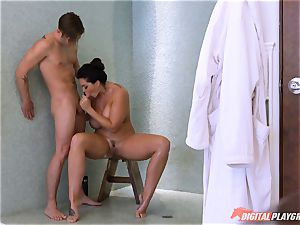 Alison Tyler caught showering then twat pounded