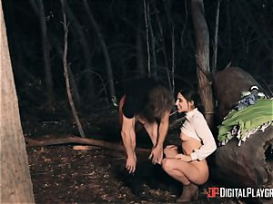 Abella Danger screwed outdoors whilst camping