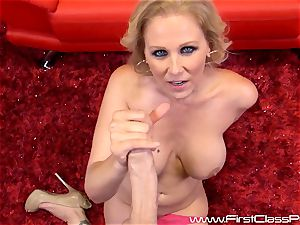 ultra-kinky snatch pot mummy Julia Ann fellating on a yam-sized spunk-pump and getting a ample fountain to her breasts