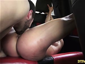 James Deen takes milf Cherie Deville for a ride on his man meat in the car