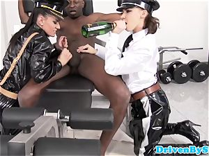 female dominance babes big black cock slave cums on their boots