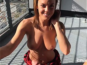 Rahyndee James dark haired honey blowjob arched Over Balcony