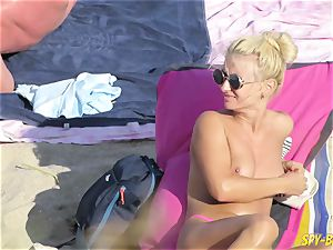pink bathing suit unexperienced bra-less hidden cam Beach nymphs
