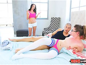 mischievous threesome with steamy black-haired milf and nubile Silvia Saige and Elena Koshka
