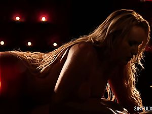 steamy and warm rubdown finishing in voluptuous orgy with a big-boobed goddess
