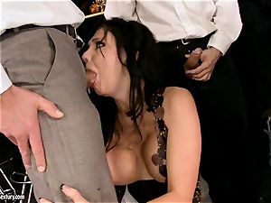 Aletta Ocean gangbang as she mouths a insatiable group