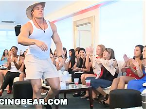 CFNM hotel party with enormous man-meat male Strippers