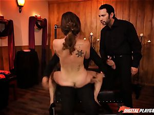 naughty Jade Nile in neck corset getting cropped
