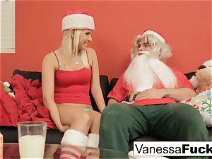 Vanessa letting Santa bang her cock-squeezing wet fuckbox