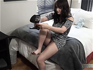 Charlotte Cross tries out her draped stepdaddys shaft