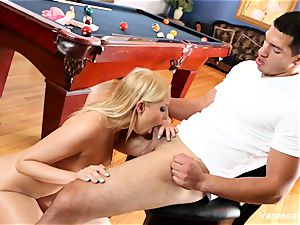 hotty Vanessa box gets arched over the pool table