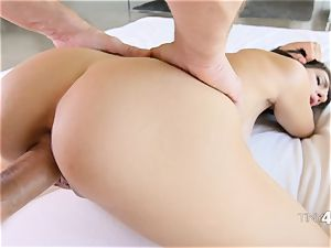 petite babe Joseline Kelly riding ginormous thick dick