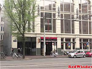 giant boobed Amsterdam escort gets spunk showered