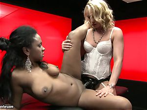 raunchy Kathia Nobili shoves her string on manhood deep down her colleague jaws