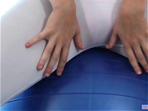 Alexis Adams boinks via a gym ball