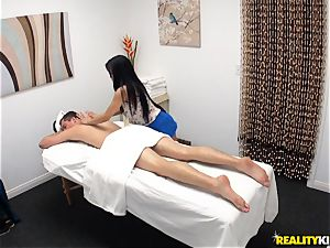 mischievous masseur blows off her patient