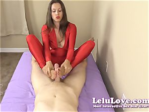 clothed dame gives you hand job and footjob