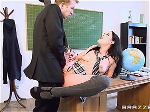 schoolgirl Dolly Diore penetrating her phat dicked teacher