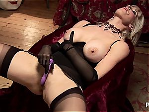 pleasuring both her crevices