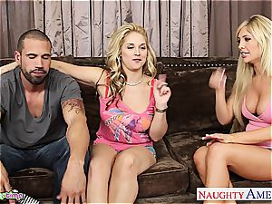 blondie babes want to make his giant cock perceive as superb as they can