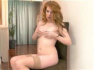 Nicole Hart plays with her super hot ginger-haired pussy