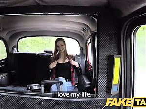 faux taxi slim ginger-haired enjoys raunchy lovemaking