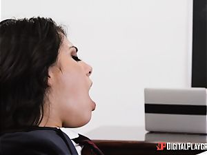 educator rams his yam-sized pink cigar into student Gina Valentina