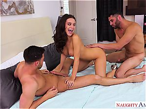 red-hot Lana Rhoades entertains the folks with her edible tits
