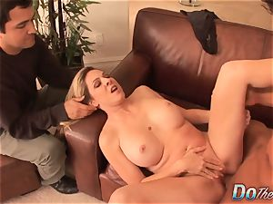 light-haired housewife takes it anally from porn dude