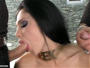 sultry slut Aletta Ocean gets two rigid chubs blowing it sizzling one at a time