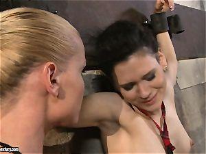 Kathia Nobili torturing a ultra-kinky school female