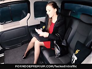 pulverized IN TRAFFIC Tina Kay footjob in the backseat