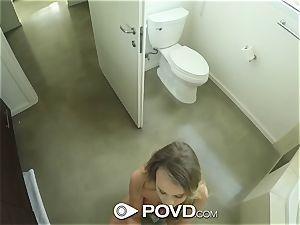 POVD big-boobed Alexis Adams after bathroom ravage in pov
