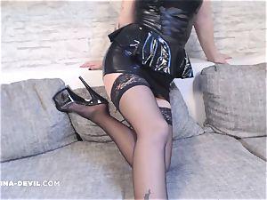 steamy Nina milks in cool high-heeled shoes