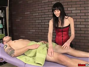steaming masseur predominates Over The scanty customer