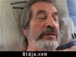 teenage nurse dame Dee shag treatment for sick elderly patient