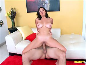 uber-cute little black-haired Shae Summers rails on enormous fuckpole