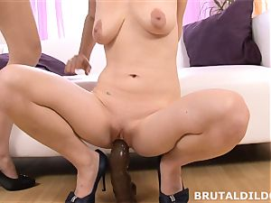 Mary plunges Blue Elis throat and honeypot with a hefty dildo