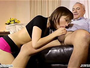 parent smashes his thin youthful daughter and blows a load in her