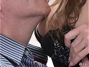 sensual cougar wanks her man's pouch