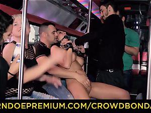 CROWD restrain bondage - yam-sized jugged slave hookup in the soiree bus