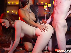 jism swallowing threeway with fantastic Ella Hughes and cool honey Mea Melone