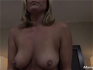 steamy light-haired cougar internal cumshot delight