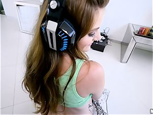 fabulous gamer Miley Cole beaten in her steamy pussyhole