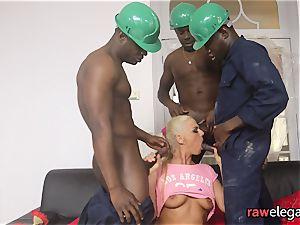 sausage enjoying light-haired has multiracial group sex