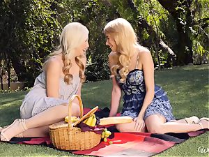Samantha Rone and Penelope Lynn picnic and puss have fun