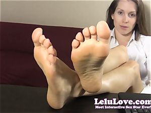 assistant taunts and teases you with her bare feet