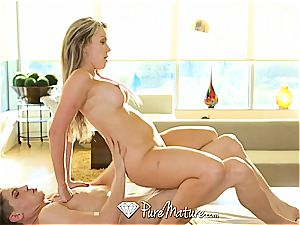 Courtney Cummz sitting on spear after steamy massage