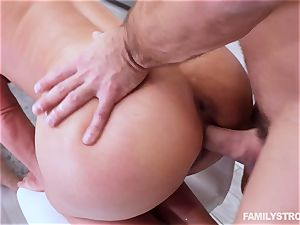 Phoenix Marie gets a super-hot three-way at the dinner table
